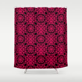 Red Lace on black . Shower Curtain