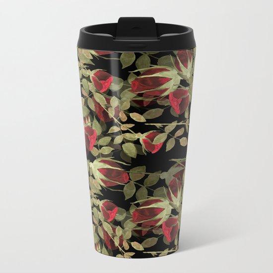Seamless watercolor roses pattern on black Metal Travel Mug