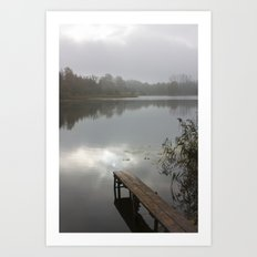 Mist on lake Art Print