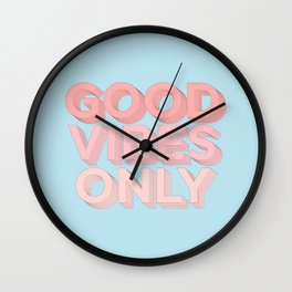 Good Vibes Only sky blue peach pink typography inspirational motivational home wall bedroom decor Wall Clock