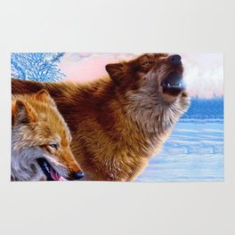 Two red wolves painting Rug