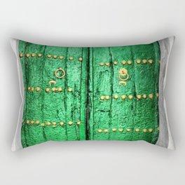 Green Patina Vintage Doorway Photograph Rectangular Pillow