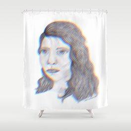 "SERIOUS - pencil illustration ""screen print"" Shower Curtain"