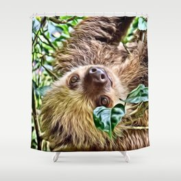 Painted Sloth Shower Curtain