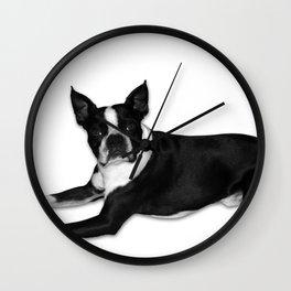 Fetch Boston Terrier B/W Wall Clock