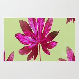 Large pink leaf on a olive green background - beautiful colors Rug