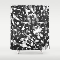 music notes Shower Curtains featuring MUSIC NOTES  by raspaintings