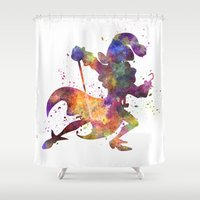 captain hook Shower Curtains featuring Captain Hook in watercolor by Paulrommer