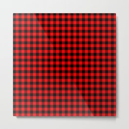 Mini Red and Black Coutry Buffalo Plaid Check Metal Print