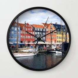 Painting of a Cloudy Day Along the Colourful Nyhavn Canal in Copenhagen, Denmark Wall Clock