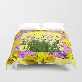 YELLOW DAFFODILS FLOWER GARDEN & PINK POPPIES DESIGN Duvet Cover