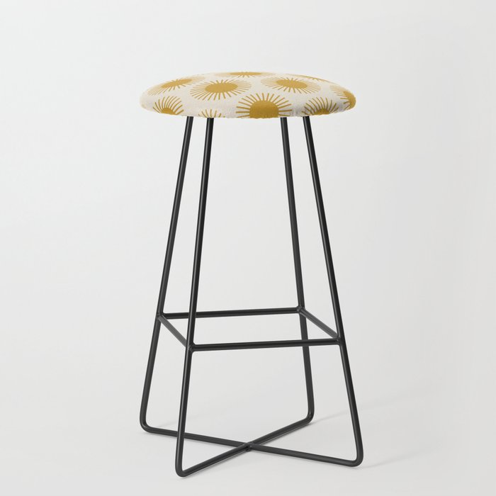 Golden Sun Pattern Bar Stool