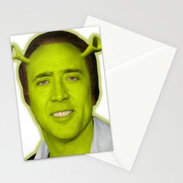 Nicolas Shrek Cage   Funny Meme   Nic Cage Face Shirt   Gift For Men, Woman Stationery Cards