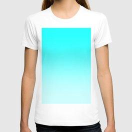 Cyan to Pastel Cyan Horizontal Linear Gradient T-shirt
