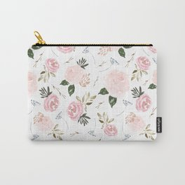 Vintage Floral Blossom - Pink Watercolor Florals Carry-All Pouch
