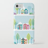 ski iPhone & iPod Cases featuring Ski house by Polkip