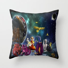 Dragonlings Space Party Throw Pillow