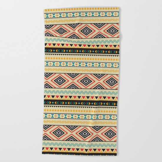 Tribal #3 * Ethno Ethnic Aztec Navajo Pattern Boho Chic Beach Towel