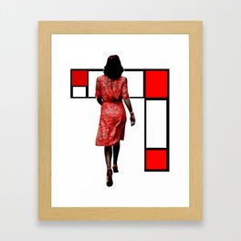 Red Dress In The City Framed Art Print