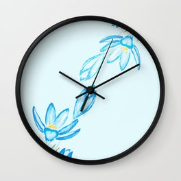 blue botanical crocus flowers watercolor Wall Clock