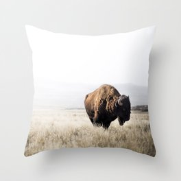 Bison stance Throw Pillow