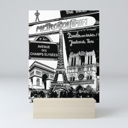 Black-and-White Paris Collage Mini Art Print