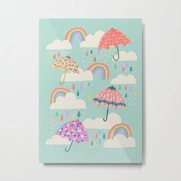 Happy Spring Showers - Aqua Metal Print