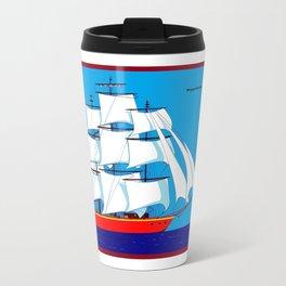 Clipper Ship in Sunny Sky - Happy Birthday on some items Travel Mug