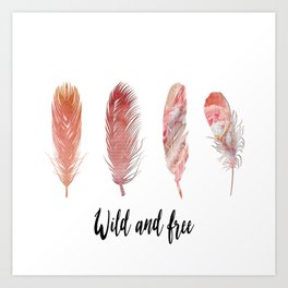 Pinl peach colored feathers on white with quote Art Print