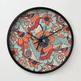 Colorful Vintage Floral Pattern Wall Clock