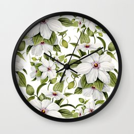 White Clematis Watercolor  Wall Clock