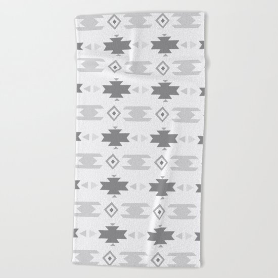 Southwestern Pattern Gray Cream Beach Towel