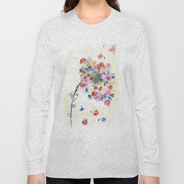 Dandelion watercolor illustration, rainbow colors, summer, free, painting Long Sleeve T-shirt