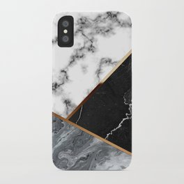 Elegant Silver Marble with Bronze Lining iPhone Case