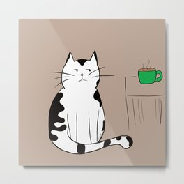 Java the Coffee Cat Metal Print