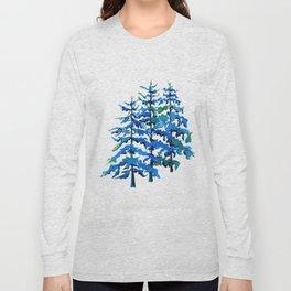 Blue Pine Trees Long Sleeve T-shirt