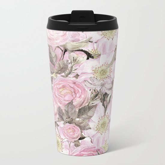 Floral Vintage painterly background in pink with Roses Flowers and insect Metal Travel Mug