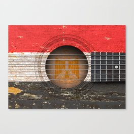 Old Vintage Acoustic Guitar with Egyptian Flag Canvas Print