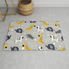 Sweet dreams little one zoo animals cute pattern grey Rug
