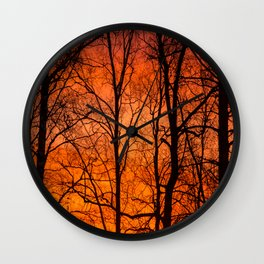 Leafless Trees At October Sunrise  Wall Clock