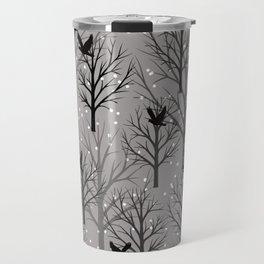 Winter Tree birds and snowflakes - Christmas design Travel Mug