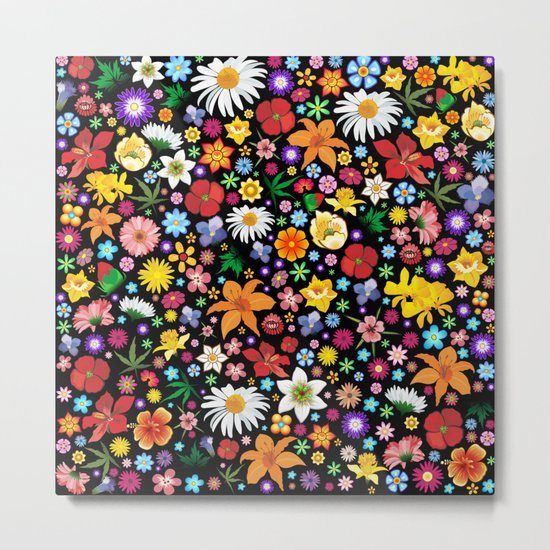 Spring Flowers Pattern Metal Print