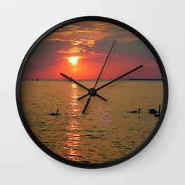 Swans in the Sunset Wall Clock