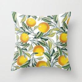 Lemon and Leaf Pattern VI Throw Pillow