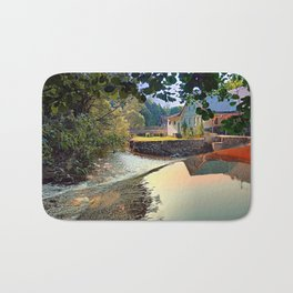 Nature, a river and colorful reflections | waterscape photography Bath Mat