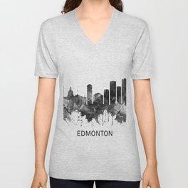 Edmonton Canada Skyline BW Unisex V-Neck