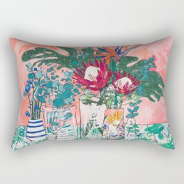 Cockatoo Vase - Bouquet of Flowers on Coral and Jungle Rectangular Pillow