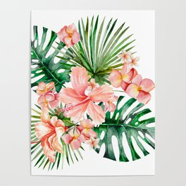 Tropical Jungle Hibiscus Flowers - Floral Poster