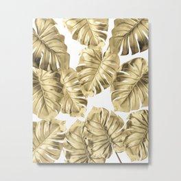 Gold Monstera Leaves on White 2 Metal Print