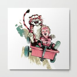 Calvin And Hobbes Fast Metal Print